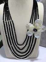 Free Shipping Natural Freshwater Pearl Necklace Real Pearls And Crystal Necklace Shell Flower Pearl Necklace Multilayer