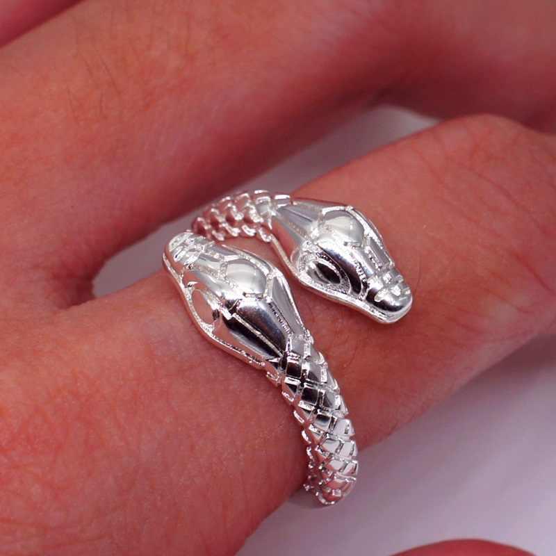 OMHXZJ ขายส่งยุโรปผู้หญิงผู้หญิงแฟชั่นผู้หญิงงานแต่งงานของขวัญเงินเปิดแหวนเงิน 925 RR261