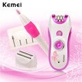 Kemei 3W LED Rechargeable Epilator Depilatory Cordless Hair Removal Device Women Shaver Razor Grinding Nail Tool with 5 Heads