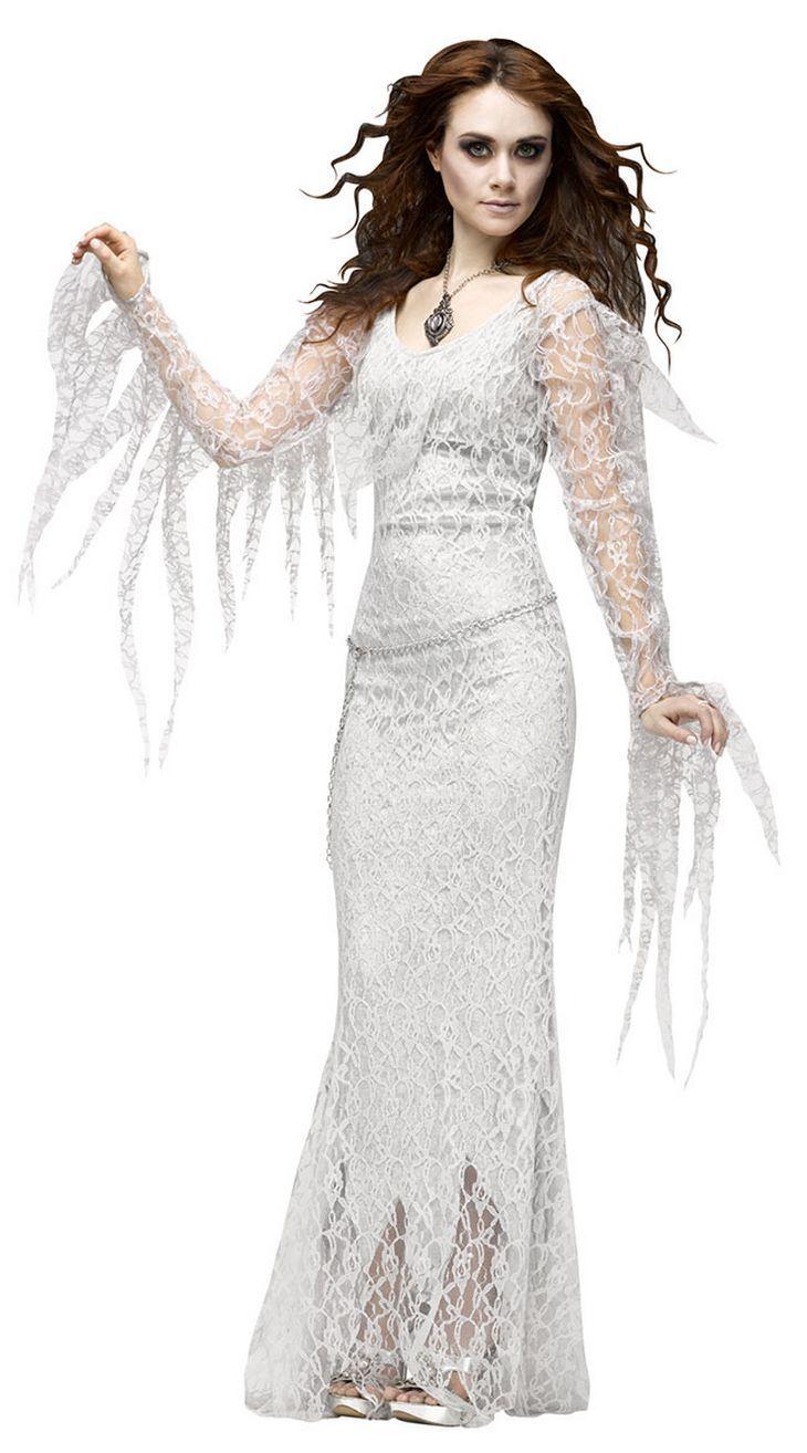 Белый ведьма длинное платье для взрослых женские пикантные Косплэй Зомби костюм Благородный Женщины платье scarey Хэллоуин Fantasia Infantil платье