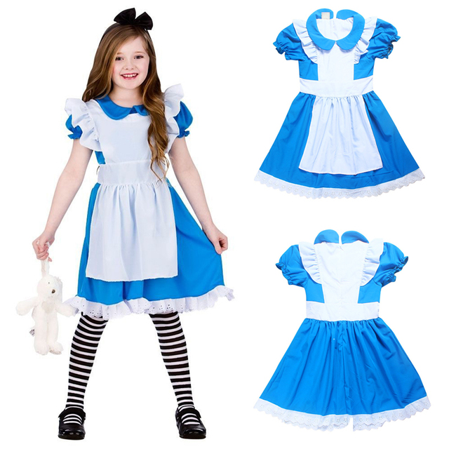 88d7499565f Hot Sale Alice in Wonderland Costume Lolita Dress Maid Cosplay Fantasia  Carnival Halloween Costumes For Children Girl