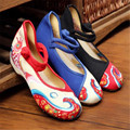 Free shipping Flats  Spring and summer new koi embroidery quilt bump color old Beijing women's shoes embroidered shoes size34-41