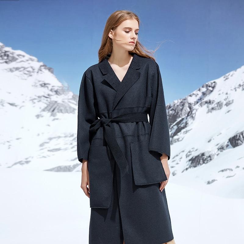 De Longue Manches Femme Laine Amii kaki Par Revers À Avec Section Hiver Mnfg Manteau Bleu Longues Veste wzY6nq