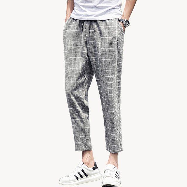 2017 Hot Summer Men Pants Joggers Plaid Ankle-length Men Trousers (Asian Size)