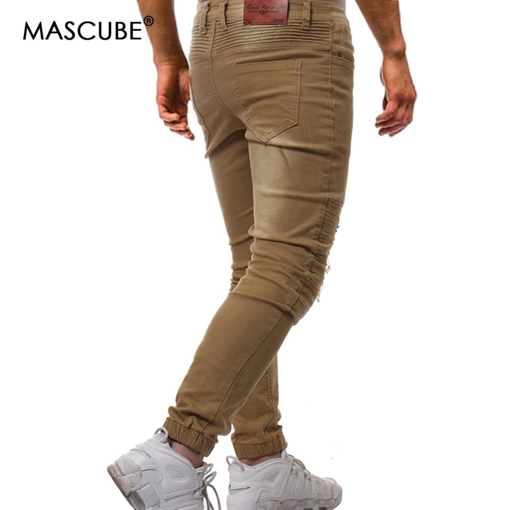 MASCUBE Streetwear 2019 Men Pants Punk Cotton Pencil Pants With Holes Black Hip Hop Teenager Trousers Casual Slim Zipper Pants