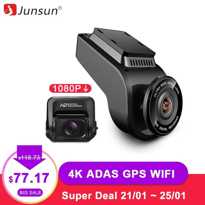 Junsun 4K Ultra HD GPS WiFi Car Dash Cam 2160P 60fps ADAS Dvr with 1080P Sony Sensor Rear Camera Night Vision Dual Lens Dashcam
