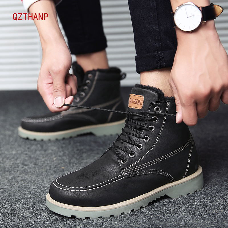 Boots Men Comfortable Warm Ankle Boots Winter Sneakers Male Leather Martin Boots Krasovki Casual Shoes Tenis Zapatos De Hombre