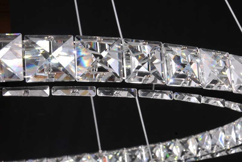 ใหม่3รอบแหวนเพชรคริสตัลโคมไฟห้องนั่งเล่นที่ทันสมัยนำlustres K9คริสตัลขัดโครเมี่ยมโคมไฟระย้า