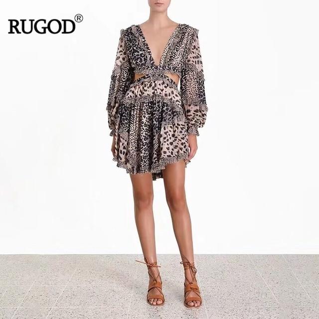 Leopard Dress Women VNeck...