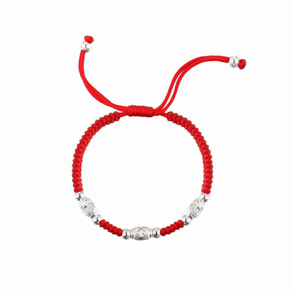 LKO S925 סטרלינג כסף מזל חרוזים אדום חבל כסף חרוזים צמיד לגבר & נשים אופנה צמיד משלוח חינם