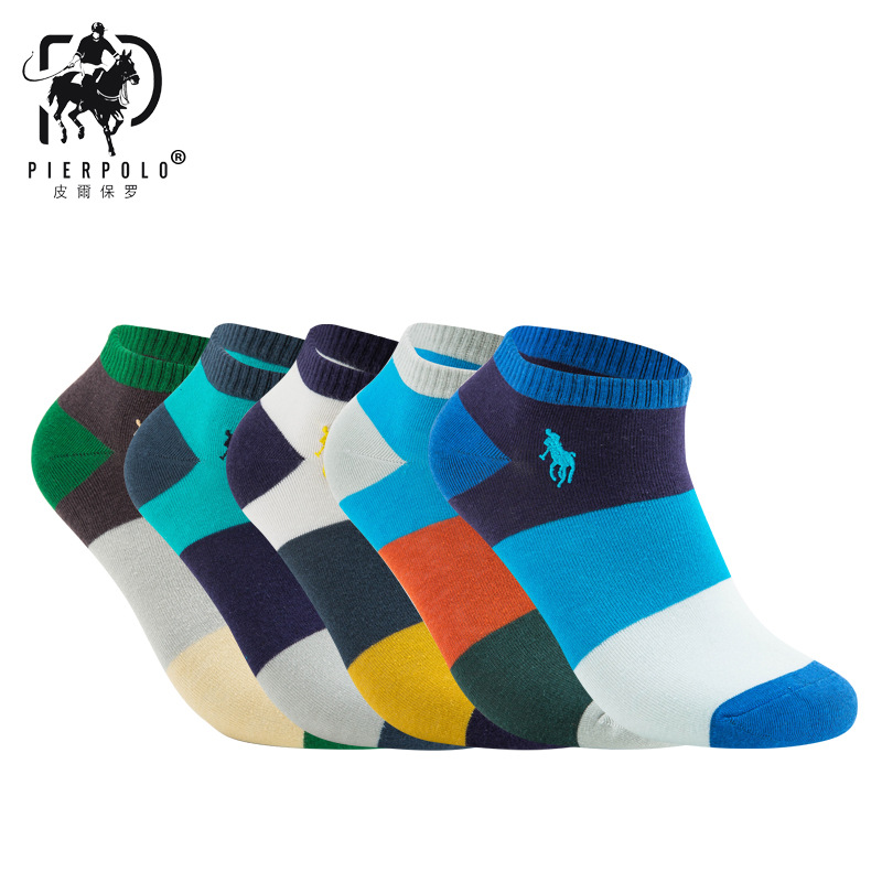 PIERPOLO Spring Men's Cotton short   socks   10pcs=5pairs/lot High quality Business Brand ankle   Socks   Male Breathable size39-44
