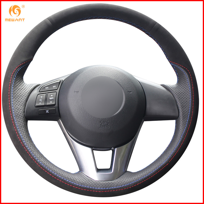 MEWANT Black Suede Black Genuine Leather Car Steering Wheel Cover for Mazda 3 Axela 2013 2016