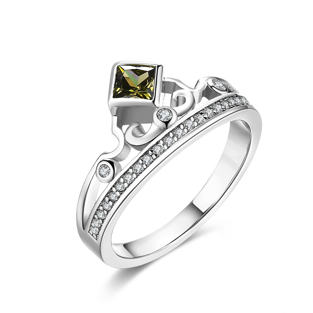 Unique Design Crown Ring Jewelry Gold Color Wedding Engagement Ring For  Women Red Purple Square Cz
