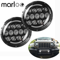 Marloo 105W 7 LED Headlights Bulb With Halo Angel Eye DRL Turn Signal Lights For Jeep