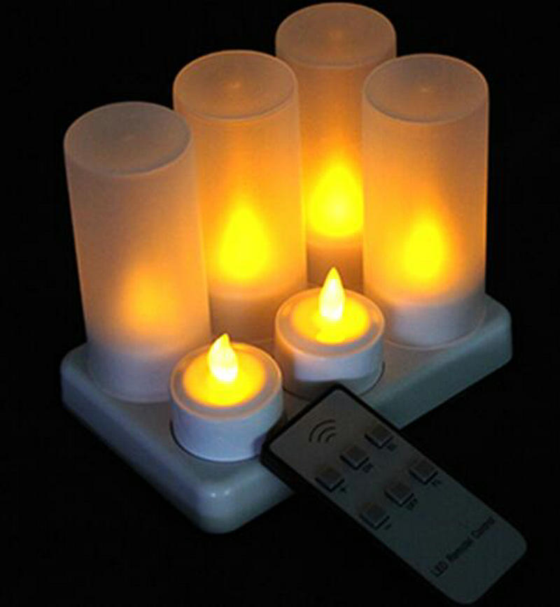 Home Sensible Set Of 6 Led Candles W/remote Controller Flickering Frosted Rechargeable Tea Light Candle Waxless Christmas Wedding Party Decor Clear-Cut Texture