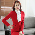 Formal OL Styles Slim Fashion Professional Autumn Winter Business Work Suits With Jackets And Skirt Ladies Blazers Outfits Red