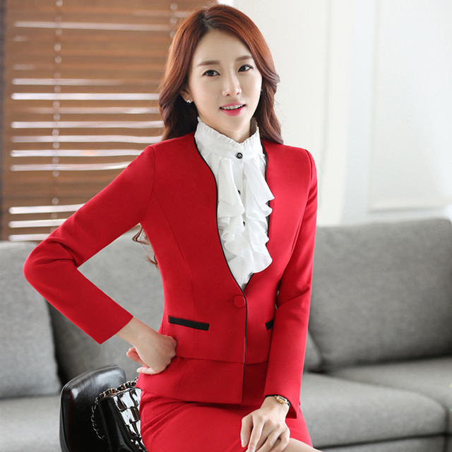 634212e31694 Formal OL Styles Slim Fashion Professional Autumn Winter Business Work Suits  With Jackets And Skirt Ladies