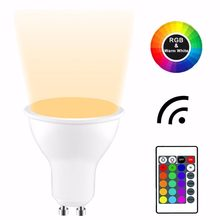 16 colors RGB rgbw LED Light Bulb Smart Lighting Lamp E27 GU10 Color Change Dimmable spotlight + 24key IR Remote Controller 5W(China)