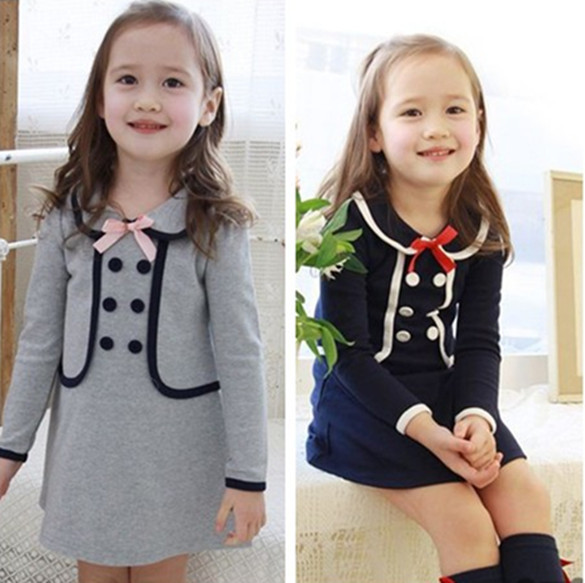 38f5423c4cf3f New 2014 Children Spring Winter Baby Girls Double Breasted School Dresses  Kids Princess Child Preppy Style Dress 3-7 Years