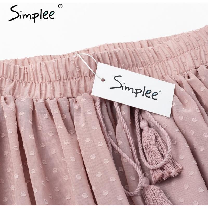 Simplee Casual polka dot mini women skirt High waist A line korean tassel pink summer skirt Sexy ruffle beach female skirts 19 15