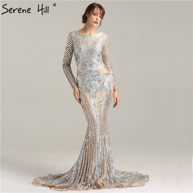 Sexy Nude Mermaid Prom Dresses 2018 High Neck Crystal