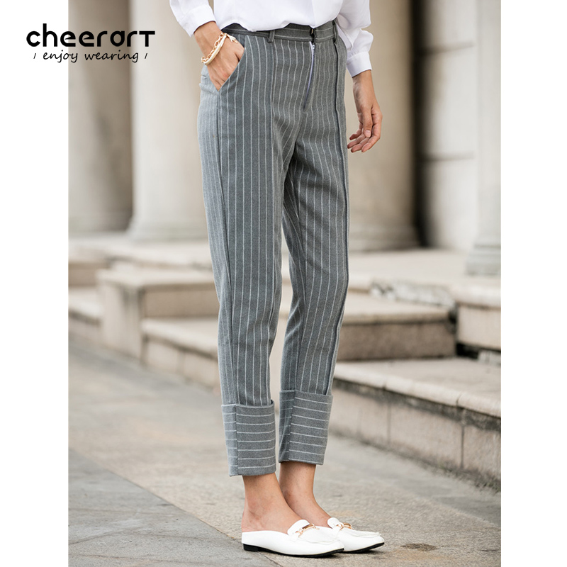 Grey Formal Striped Office Pants Trousers Women High Waist ...
