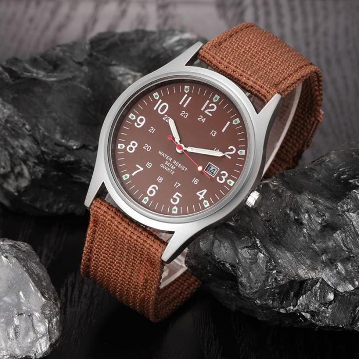 HTB1FfgNapGWBuNjy0Fbq6z4sXXaR Fashion Men Military Watch Quartz Analog Clock Canvas Wristband Sports Army Waterproof Wristwatch ~ @88 LXH