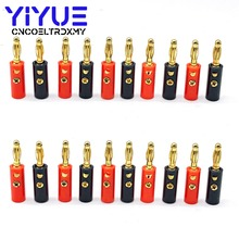 20pcs 4mm Audio Speaker Wire Cable Adapter Connector Banana Plug Gold Plated