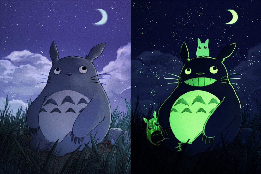 F0373 24 X36 My Neighbor Posters Totoro Glow In The Dark Hayao Miyazaki Cute An Anime Movie Collection Canvas Print Painting Calligraphy From Home