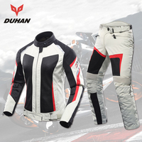 DUHAN Motorcycle Jacket + Motorcycle Pants Set Women Breathable Mesh Motorbike Moto Jackets Protective Gear Motorcycle Clothing