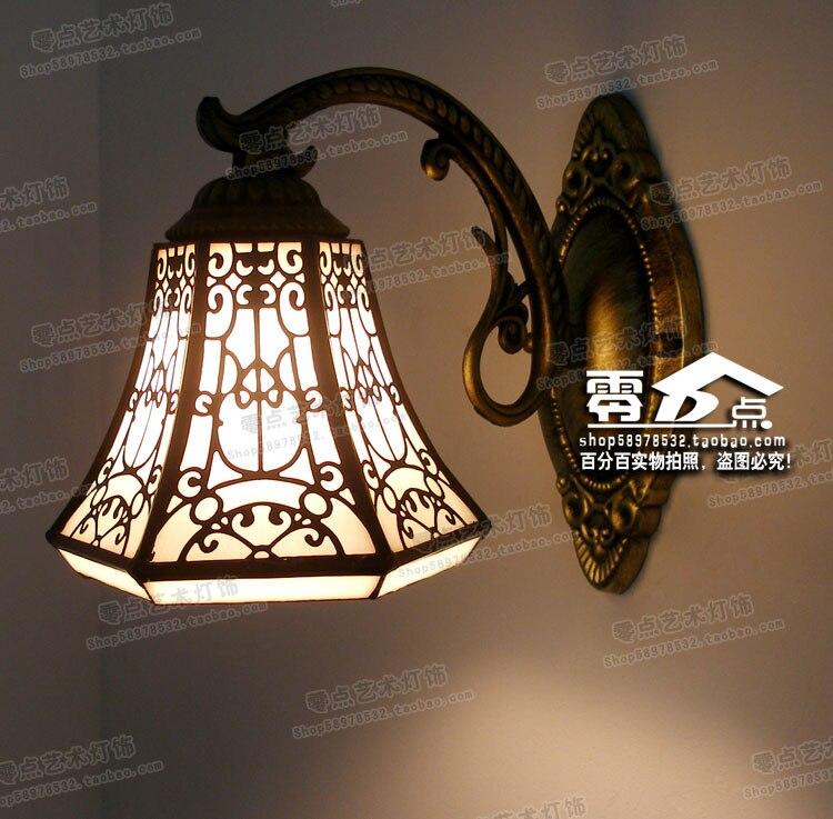 Tiffany Barocco Europeo specchio lampada singola testa Della Boemia bagno camera da letto comodino lampada da parete in ferro