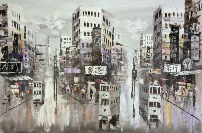 Hot Sale Hand Painted Modern font b Knife b font Canvas Oil Painting Hong Kong Street