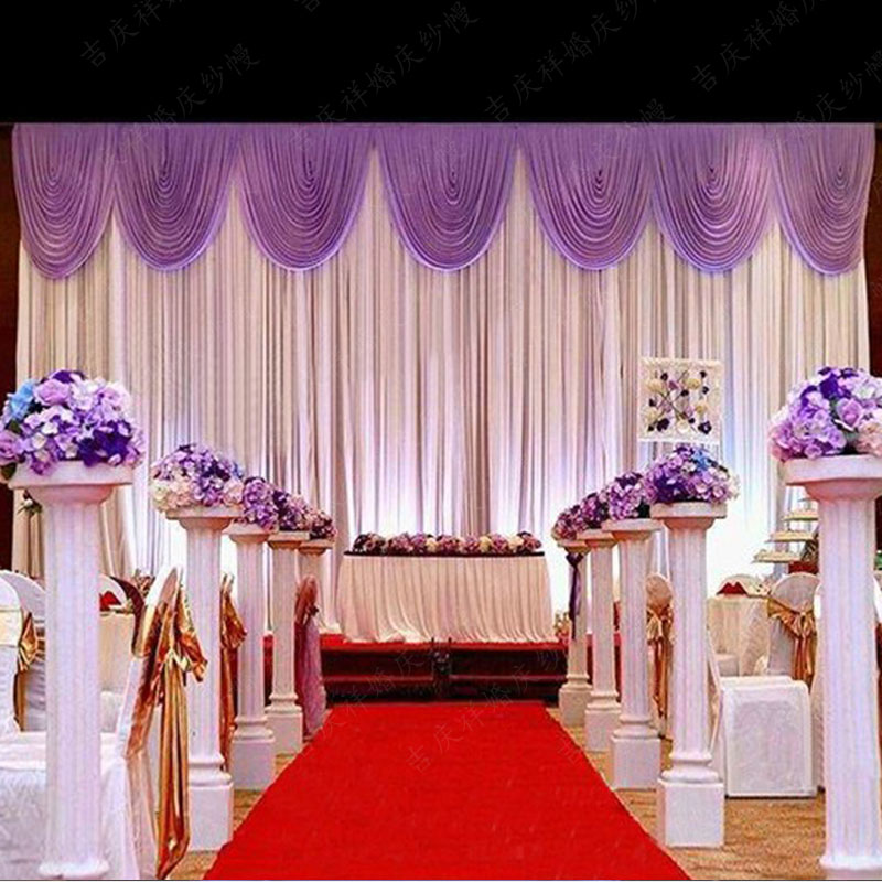 Free DHL White Wedding Backdrop Curtain With Purple Swag Stage Backdrops  20ft (w) X