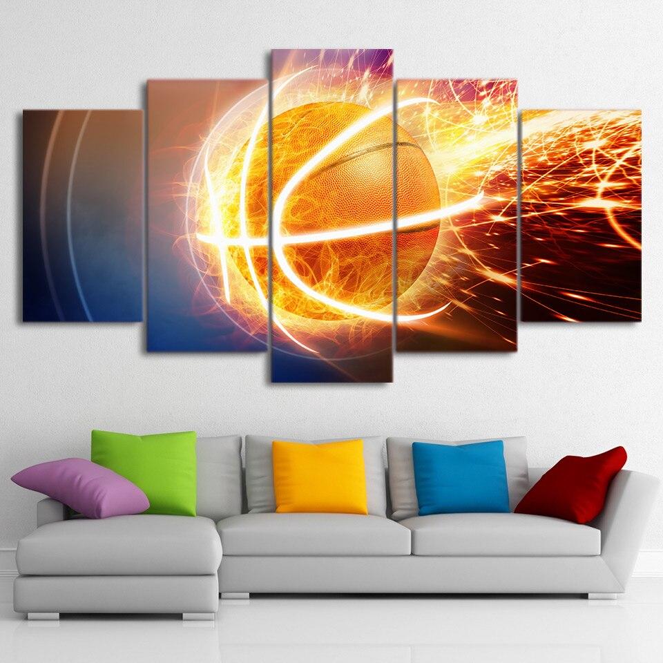 Кадры HD изображение стены холст модульная Книги по искусству украшения дома 5 панелей огонь Баскетбол для Гостиная современной живописи от...