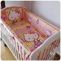 Promoción! 6 unids Hello Kitty cuna cuna lecho del bebé pieza kit set envío gratis ( bumpers + hojas + almohada cubre )