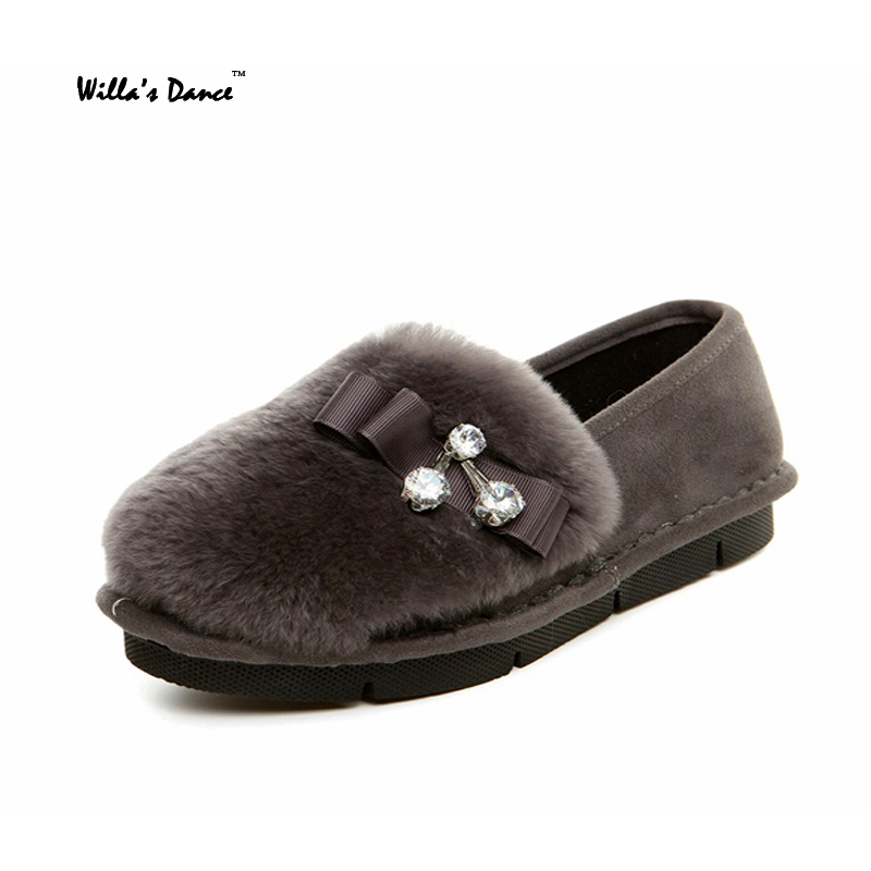 Willa s Dance 2016 Rabbit Fur font b Women b font Shoes High Quality Silp on