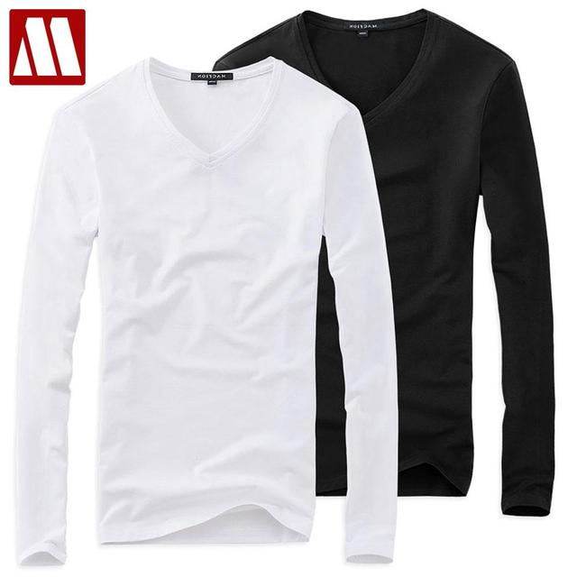 815df77749e06 Plus Size Summer Style Solid V Neck T Shirt Men 5XL Cotton Long Sleeve  Camisa Masculina