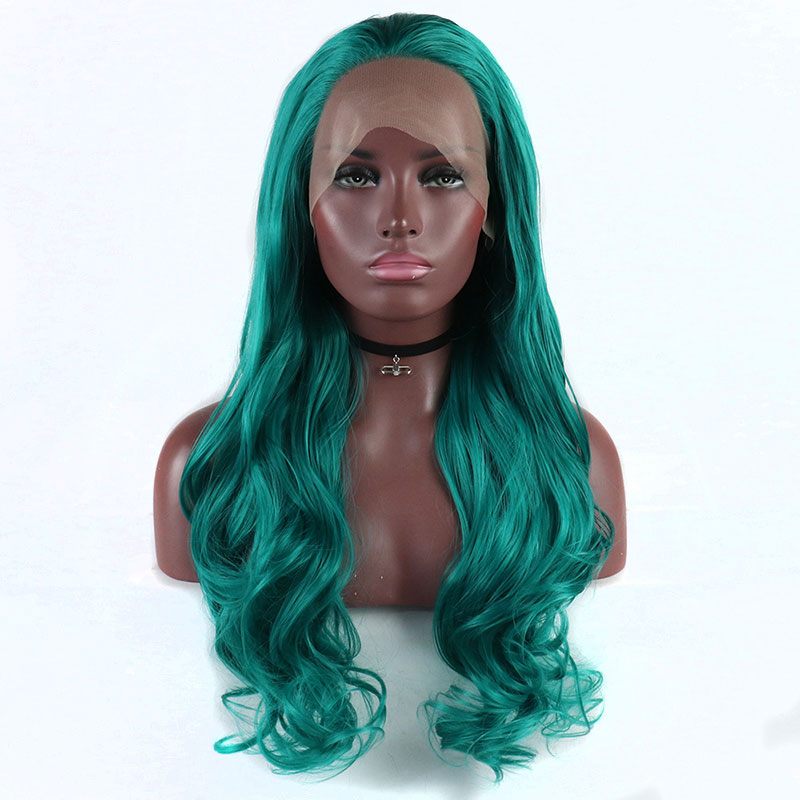Bombshell Green Blue Body Wave Hand Tied Synthetic Lace Front Wig High Temperature Fibber Hair Natural