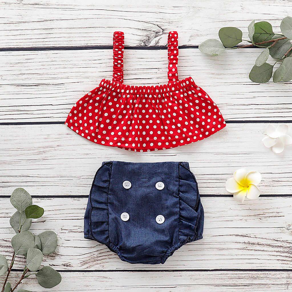الصيف طفل جديد الاطفال الطفل فتاة معطلة الكتف الكرز حزام قمم ممزق الدينيم السراويل الجينز 2 قطعة الفتيات الملابس مجموعة # Y4