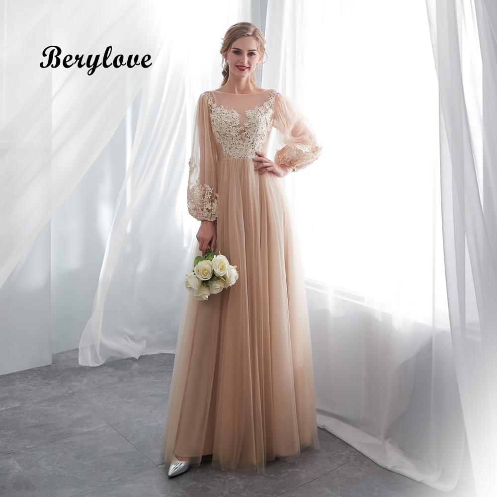 BeryLove Elegant Champagne   Prom     Dresses   Long Sleeves Tulle Lace   Prom     Dress   2018 Vestidos De Fiesta   Prom   Gowns Formal Party   Dress
