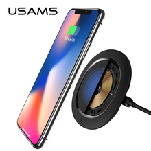 USAMS Universal Fast Charger Qi Wireless Charger 5V 2A Ultra Mini Recharger Portable Wireless Battery Charger for Samsung iPhone