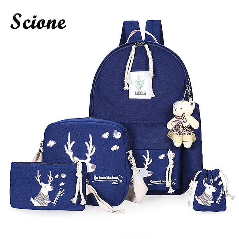 Luxury Canvas Backpack 6PCS Set with Little Bear Cute ...
