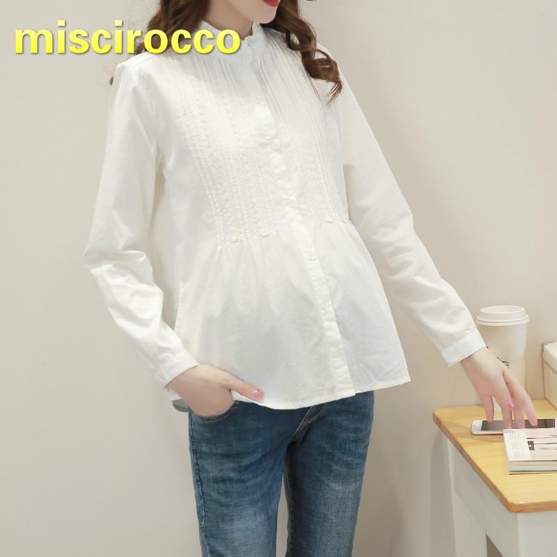 Maternity Shirt Cotton Long Sleeve Shirt Pregnant Women Shirt Simple Basis Maternity Clothes Big Size Women Clothing Spring Top