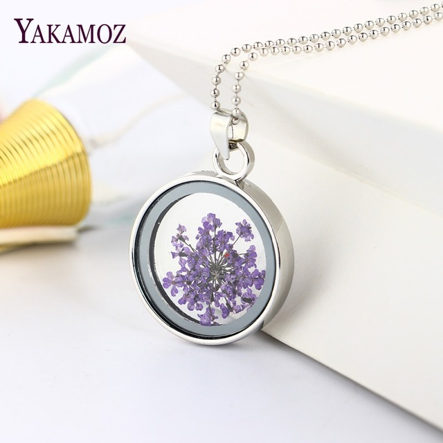 Fashion Women Round Glass Dried Flowers Pendant Necklaces Floating Locket Neckla