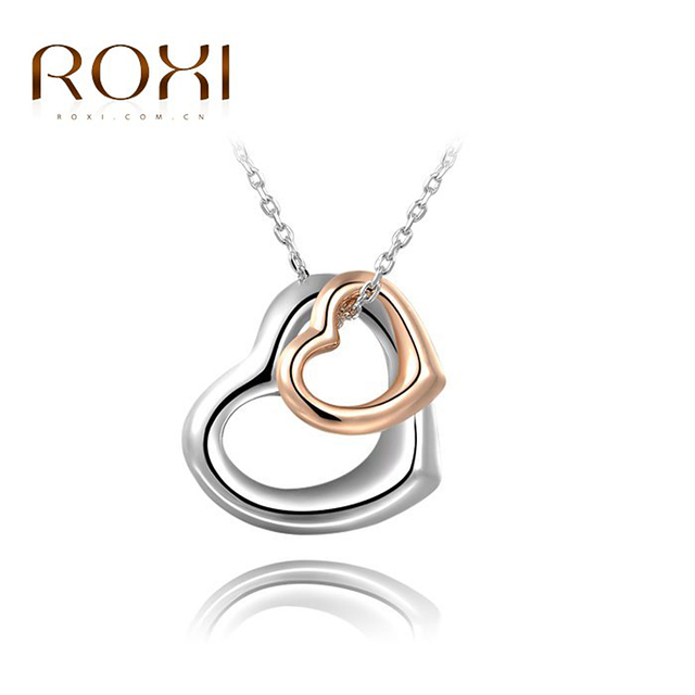 ROXI Brand New Lover Gift Double Heart Pendant For Couple Silver Peace Sign Necklace Clavicle Necklace Woman Jewelry collier fem