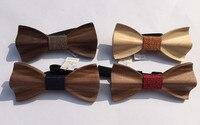 עניבות פרפר פרפר עץ בעבודת יד באיכות גבוהה סיטונאית עם קופסא מתנה