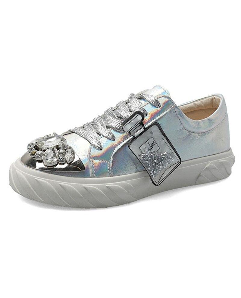 YeddaMavis Silver Women Shoes Women Sneakers Spring New Rhinestone Lace Up Shoes Women Flats Womens Shoes Woman Zapatos De Mujer