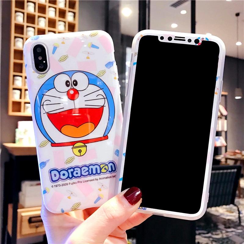 Doraemon For iphone X tpu case + tempered glass For iPhone 8 /8 plus /7 7Plus /6 6splus fundas shine cute screen protector