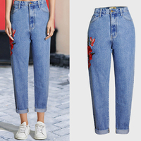European And American Style BF Wind Embroidery Jeans For Women Denim Trousers High Waist Straight Women