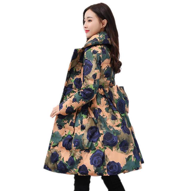 Best Price Thicken Down Cotton Jacket Coat Women Print Winter Jacket Women Skirt Style Long Parka Elegant Wadded Winter Women Jacket C3791